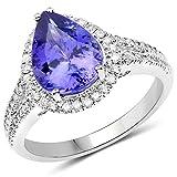 Ring 14 Karat (585) Weißgold 3,62 Karat echter Tansanit und weißer Diamant