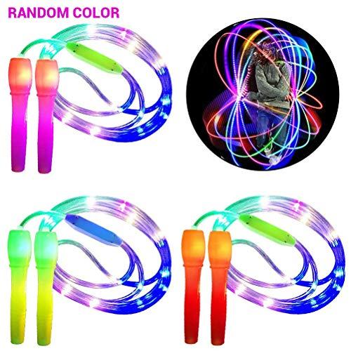 Suszian Leuchtende Springseil Kinder, zufällige Farbe im Dunkeln leuchten Springseil LED-Leuchten Fitness Springseil für Kinder Erwachsene, Lichtshow, Fitness