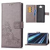 Edauto Sony Xperia XA3 Handyhülle Hülle Glücksklee Wallet Flipcase PU Leder Schutzhülle Bookstyle Handytasche Brieftasche Kartenfach Ständer Magnetisch Silikon Handyschale Bumper Grau