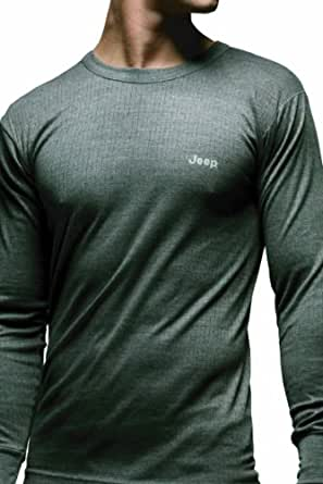 Mens 1 Pack Jeep Long Sleeved Thermal T-Shirt In 3 Colours - Small - Grey