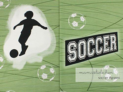 Mamasliebchen Jersey-Stoff Fußball Fußbälle Grün Jungs Junge Soccer #Green (1Panel, ca 0,65m x 1,50m)