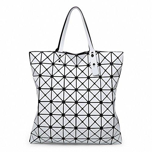 Finitura opaca di ripiegamento del sacco Borsetta donna Borse Moda casual Tote Moda Donna Tote Silver Large White