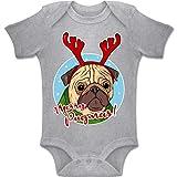 Shirtracer Weihnachten Baby - Merry Pugmas! - 12-18 Monate - Grau meliert - BZ10 - Baby Body Kurzarm Jungen Mädchen