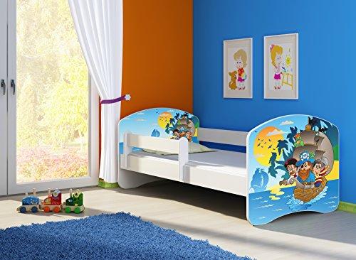 Clamaro 'Fantasia Weiß' 140 x 70 Kinderbett Set inkl. Matratze und Lattenrost, mit verstellbarem Rausfallschutz und Kantenschutzleisten, Design: 21 Piraten