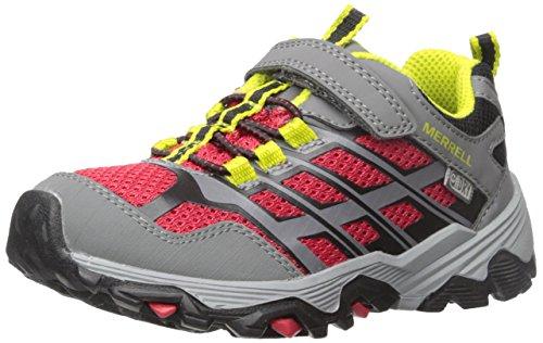 Merrell Kids' Moab FST Low A/C Waterproof Sneaker,Red/Grey,11 Wide US Little Kid - Merrell Junge Schuhe