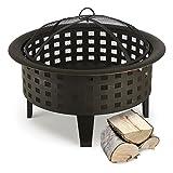 Blumfeldt Boston Feuerschale Feuerkorb (70 cm Durchmesser, Funkenschutz, Schürhaken, brünierter Stahl) schwarz