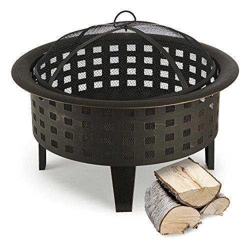 blumfeldt Boston • Feuerschale • Feuerkorb • Terassenofen • Gitternetz für Funkenschutz • Robustes Metall • stabile Standfüße • Schürhaken • antikes Design • ca. 7 kg • schwarz