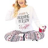 Weihnachten Langarm T-Shirt Elch Schnee Print Legging Set Frauen Pyjamas Homewear (Color : White, Size : S)