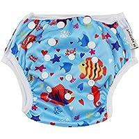 sunnymi Baby Jungen Schwimmbekleidung Verstellbar Meeresboden Tiere Dicht Windelhose Schwimmhose Unisex
