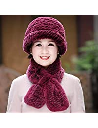 4930b146e LIUXINDA-MZ Sombrero de Dama otoño Invierno Bufanda Sombrero Mujer Invierno  Viejo Hombre Gorra,