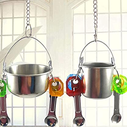 KaariFirefly Birds Parrots Stand Hanging Stainless Steel Food Cup Holder Swing with 2 Spoons - Random Color L 6
