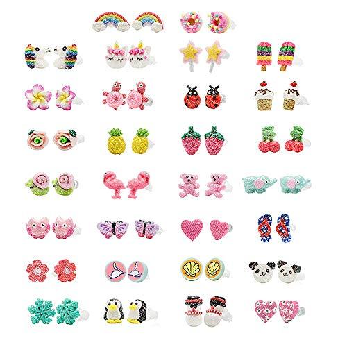 Minihope ragazze, gioielli ipoallergenico orecchini set per bambini in argilla polimerica Wih, colorato carino orecchini e NA, regolabile, colore: Earring Set30
