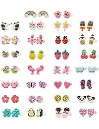 Minihope ragazze, gioielli ipoallergenico orecchini set per bambini in argilla polimerica Wih, colorato carino orecchini