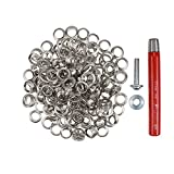 Großpackung Ösen 11 mm Inhalt 100 Stück + Locheisen + Ösenwerkzeug (silber)