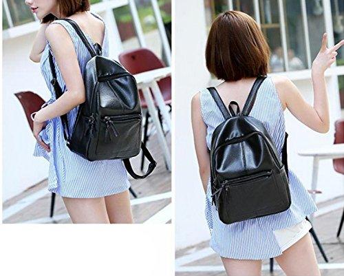 LAIDAYE Art Und Weise Beiläufige Schulterbeutel Schultertasche Rucksack Reisetasche Black