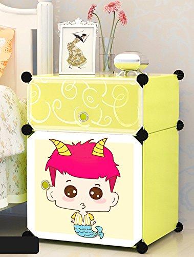 Flashing-DIY Cartoon élégant résine ABS cabinet de lit en plastique, mini enfants armoires de rangement, casiers simples Simple cabinet de lit moderne avec portes (taille : 39 * 37 * 57cm-#1)