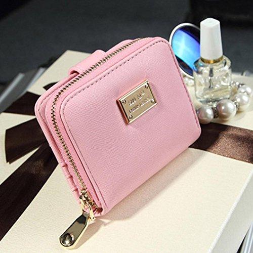 Portafoglio Donna, DDLBiz® Donna piccola borsa in pelle bifold frizione portafoglio cerniera corto della carta sacchetto del supporto (nero) rosa