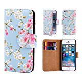 32nd Floral Series - Design PU Leather Book Wallet Case Cover for Apple iPhone 5, 5S & SE, Designer Flower Pattern Wallet Style Flip Case With Card Slots - Spring Blue