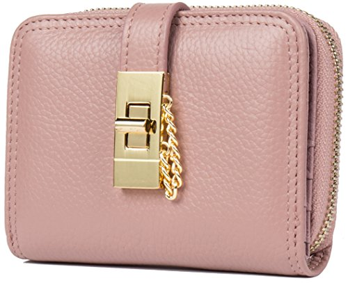 Malirona Women's Genuine Leather RFID Spacious Secure Cute Zipper Card Wallet Small Purse Multi Card Holder (Rosa) (Leather Womens Card Holder)