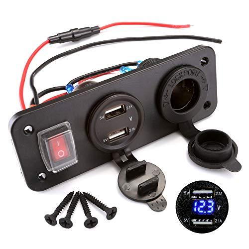 ACBungji Dual USB Ladegerät 12v Steckdose LED Voltmeter für 12V 24V Auto Boot Marine KFZ LKW PKW Motorrad RV SUV UTV ATV Fahrzeuge GPS Handy (2-Loch Panel mit Schalter 3 in 1 Blau Voltmeter)