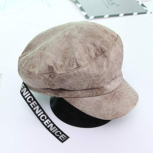 Jungen Für Kostüm Argentinien - mlpnko Weibliche Wildleder englisches Alphabet achteckigen Hut Mode britische Zeitung Junge Hut Khaki 56-58cm