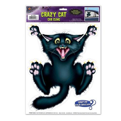 Halloween Crazy Cat Auto Glas-Fenster klammert sich an 12in. x 17in. Tabelle Party Zubehör (1/Pkg) Pkg of 6 Not Applicable
