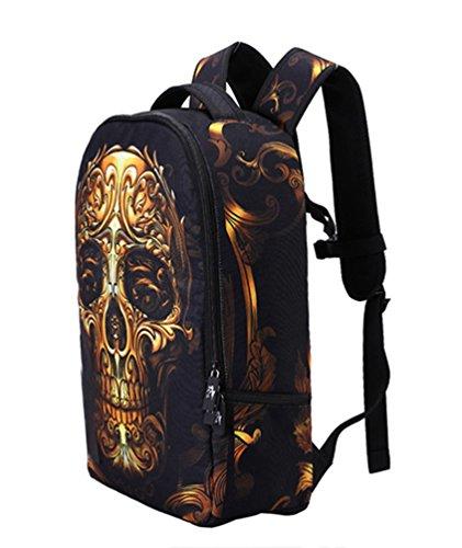 WanYang Moda Cranio Stampa Zaino Della Scuola Computer Portatile Daypacks Adolescenti Adolescenti ?Oro) Oro