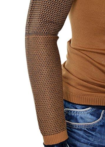 D&R Fashion Männer Sweatshirt Langarm T-Shirt Slim Fit Gelegenheits Warm viele Farben Braun