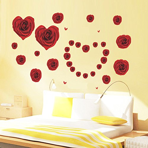 Romantic Red Heart Shaped Charming Rose Marriage Room Adornment ...