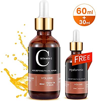 MayBeau Vitamin C Serum with Hyaluronic Acid Serum,90 ml Anti Wrinkle Serum Set,Restore and Boost Collagen Anti Ageing and Wrinkle Brighten Skin Reduce Dark Circle and Fine Line and Sun Damage