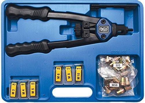BGS 408 Jeu de Pinces Professionnelles pour écrous Rivets M3-M10, Bleu/Noir
