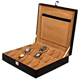 #9: Leather World Black Watch Cases Boxes for 18 Watches (Guaranteed High Quality PU Leather)