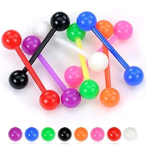 PiercedOff Lot de 8 piercing langue Bioflex boules