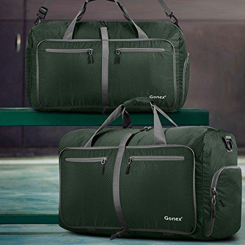 Gonex-Borsa da viaggio, pieghevole, impermeabile, 80 l, per campeggio, escursionismo, viaggio, verde, L verde scuro