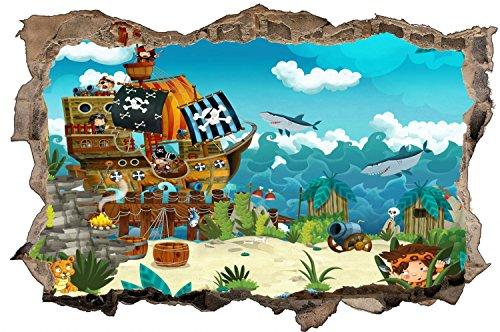 Piraten Schiff Kinder Hai Meer Wandtattoo Wandsticker Wandaufkleber D0796 Größe 120 cm x 180 cm