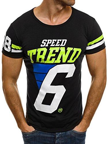 OZONEE Herren T-Shirt mit Motiv Kurzarm Rundhals Figurbetont J.STYLE SS010 Schwarz_J.STYLE-SS013