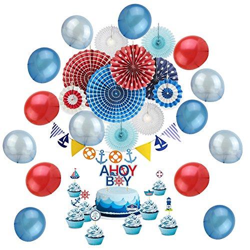 Nautisches Geburtstag Party Deko-Set–Papier Fan DIY Marineblau Wimpelkette Banner blau rot Ballon Ahoy Boy Cupcake-Topper–Für Baby-Dusche Kinder birtthday Party Supplies für Jungen, 28Stück sunbeauty