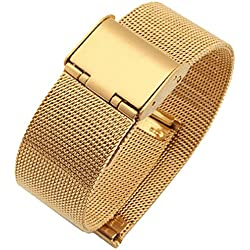 New High Quality Stainless Steel Milanese Mesh Watch Strap Gold 14mm