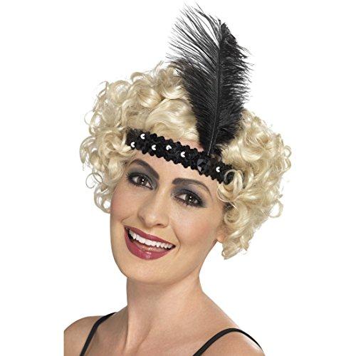NET TOYS 20er Jahre Kopfschmuck Charleston Haarband mit Feder schwarz Gatsby Haarschmuck Flapper ()