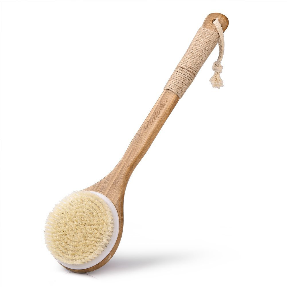 Pretty See Body Brush Back Scrubber with Anti-slip Long Bamboo Handle