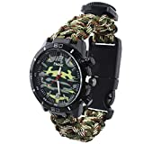 Reloj de Supervivencia Al Aire Libre Militar Compás Termómetro Multifunción Cuerda Paracord Camuflaje Relojes Hombre, Army Green