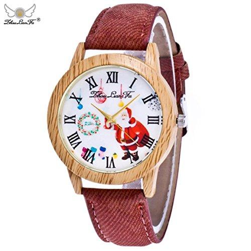 Weihnachtsuhren,Moonuy Mode & Casual Weihnachtsmann Uhren Ältere Muster Holzmaserung Denim Band Analog Quarz Vogue Uhren in 9 Farben (C)