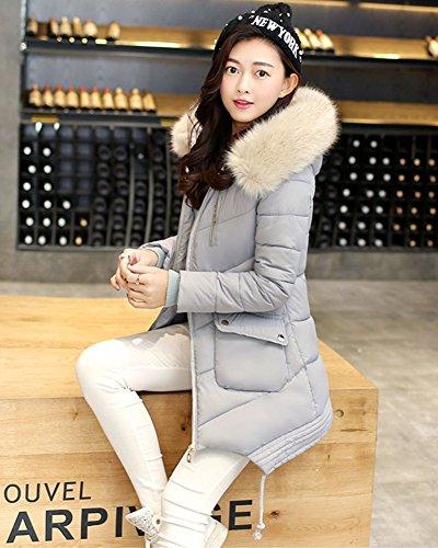 LaoZan Elegante Lungo Donne Cappotto Caldo Morbido Di Inverno, Trapuntato Giacca Imbottita Grigio