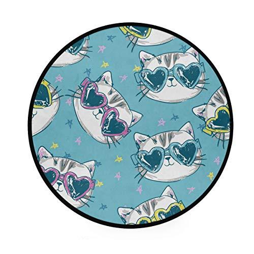 MONTOJ Katzen-Sonnenbrille-Muster, rund, rutschfeste Fußmatte für Wohnzimmer Schlafzimmer