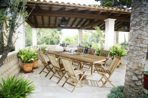 Sam Gartengruppe Caracas 9 Teilig Gartenmöbel Aus Teak Holz 8 X