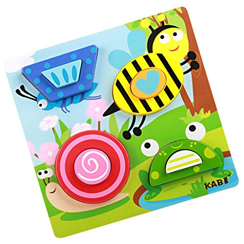 Coloré Chunky Puzzle Bois Blocs Jouet éducatif Cadeau Voiture/Animal Motif Divers - Insectes