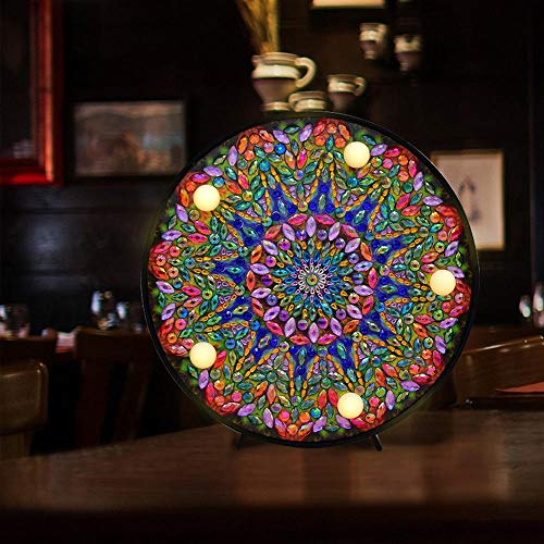 Mandala Diy Led Night Light Diamond Painting Full Special Shaped Glitter Lamp Handmade Christmas Gift Art Crafts Decoración Para El Hogar