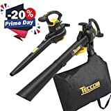 TECCPO Leaf Blower, Garden Vacuum & Mulcher 3-in-1, 3000W, Variable Blow Speed of 210/350km/h,Two Speed Switch, Collection Bag 40 litres, with Bag Strap - TABV01G