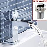 Chrom Wasserfall-Hebel-Wasserhahn, Mischbatterie für Badezimmer-Waschbecken, moderner Luxus D. Basin Tap + Waste