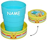 Unbekannt 3 Stück _ Faltbare - Trinkbecher / Becher -  Disney Winnie The Pooh  - incl. Name - Zahnputzbecher / Malbecher - Faltbar - Reisebecher - Reisefaltbecher - K..